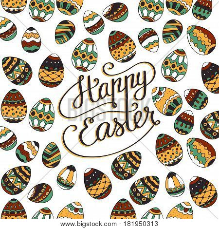 Happy Easter. Unique lettering poster with hand drawn script greeting phrase.