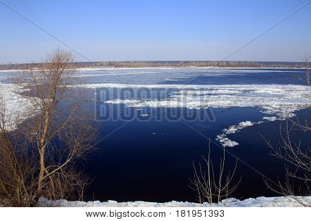 Breaking Of The Ice On The River In The Spring