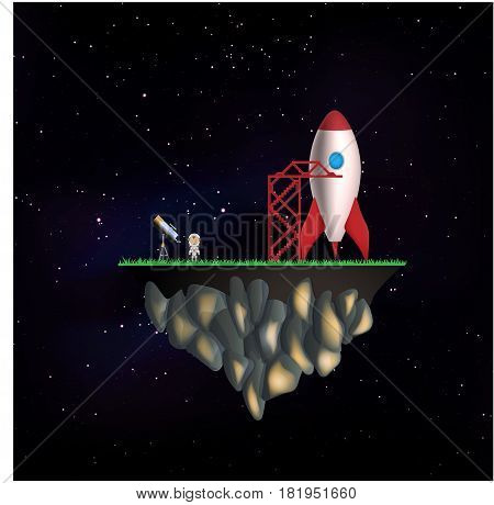 Flying isle with rocket and astronaut on a black background