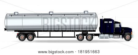 The front end of a large fuel truck over a white background
