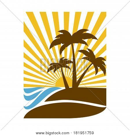 colorful rectangular background sunset in the ocean with beach and palms vector illustration