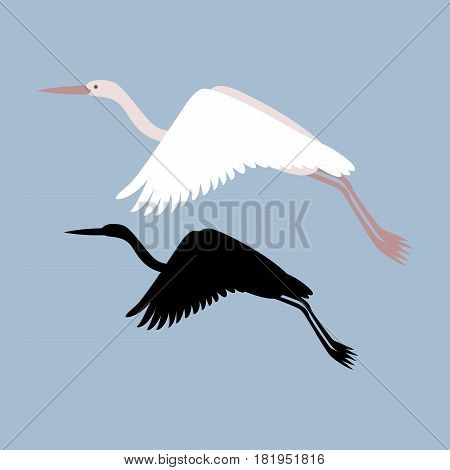 heron vector illustration style Flat  black silhouette