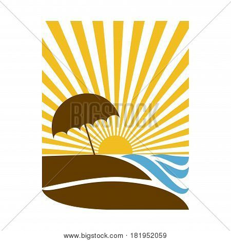 colorful rectangular background sunset with beach and umbrella vector illustration