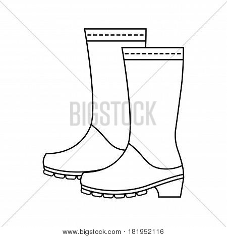 Rubber boots, protective shoes. Flat linear icon or object of clothing to design. Illustration