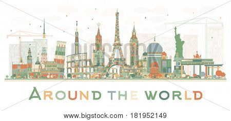 Abstract Travel Concept Around the World with Famous International Landmarks. Business and Tourism Concept. Image for Presentation, Placard, Banner or Web Site.