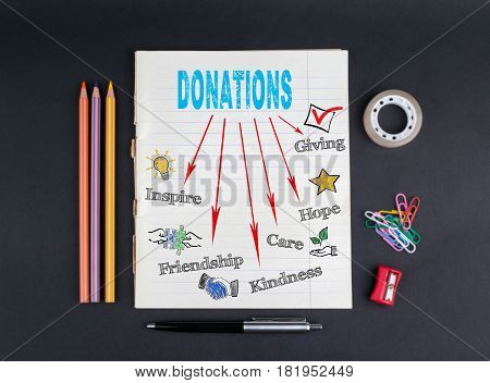 Donations concept. On a black background copybook, pencils, pen, adhesive tape and paper clips.