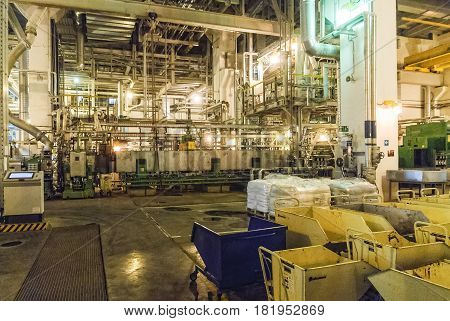 Tobolsk, Russia - July 15. 2016: Sibur company. Tobolsk Polymer plant. Extruder machine workshop