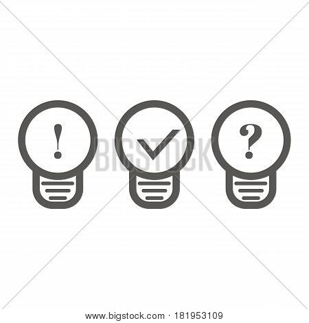 Business icon, management. Simple vector icon of three bulbs with signs inside. Line art style.