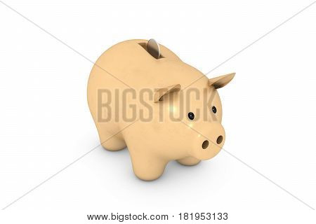 3d illustration: Golden piggy bank with metal coin on a white isolated background