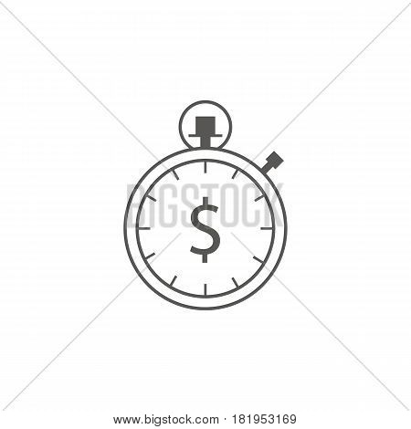 Timer with dollar icon vector. Waiting, Time and Clock concept. Line art icon. Business and management.
