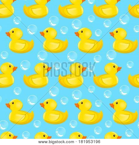 Duckling isolated on white background. Vector illustration. Rubber ducky for bath on white background