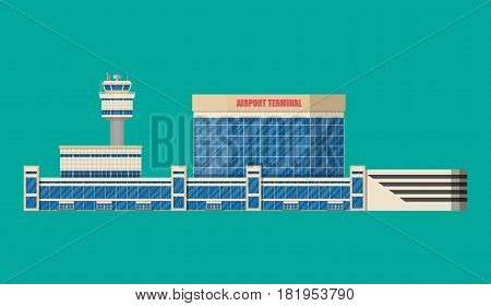 Airport control tower, terminal building and parking area. Vector illustration in flat style