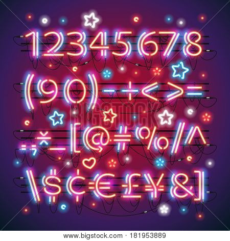 Glowing neon red blue numbers and financial symbols makes it quick and easy to customize your USA Independence Day day project. Used neon brushes included. There are fastening elements in a symbol palette.