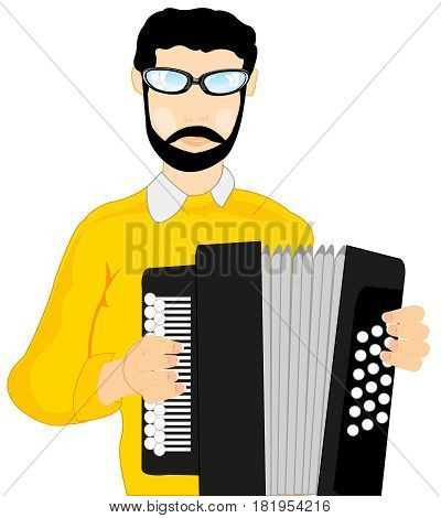 Man musician plays on accordeon on white background