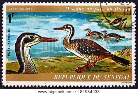 SENEGAL - CIRCA 1974: a stamp printed in Senegal shows African Finfoot Podica Senegalensis Aquatic Bird Djoudj Park Bird Sanctuary circa 1974
