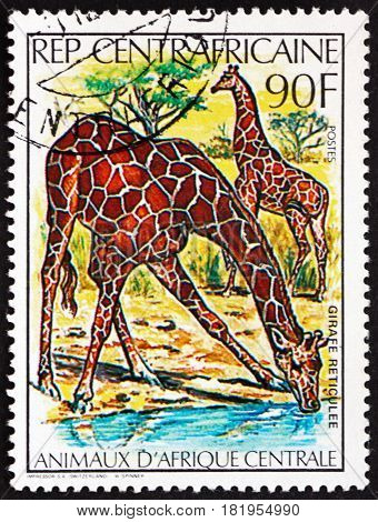 CENTRAL AFRICAN REPUBLIC - CIRCA 1982: a stamp printed in Central African Republic shows Giraffe Giraffa the Tallest Living Terrestrial Animal circa 1982