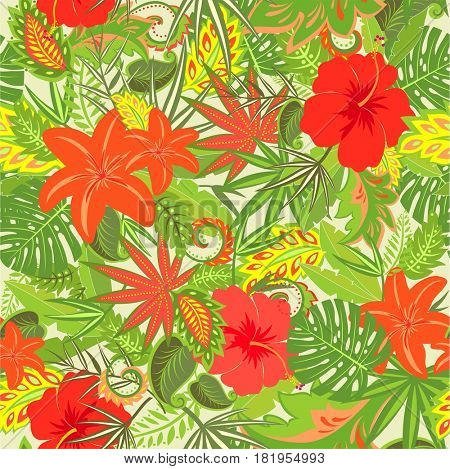 Summery tropical floral wallpaper
