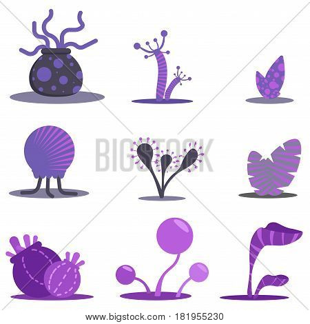 Fantasy flat set plants. Violet flowers and trees alien. Simple forms