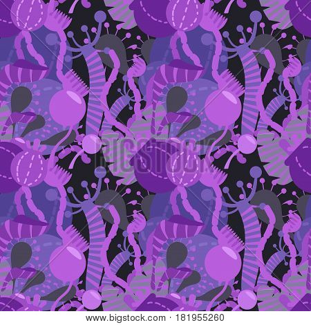 Seamless fantasy pattern. Violet and purple plants on dark background