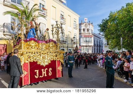 Badajoz Spain sunday. april .9. 2017 Fraternity and Brotherhood of the Triumphal Entry of Christ in Jerusalem Holy Christ of Peace and Our Lady of La Palma