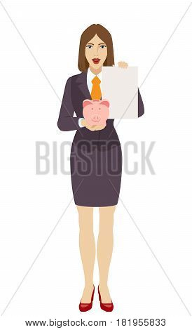 Businesswoman holding a piggy bank and paper. Full length portrait of businesswoman in a flat style. Vector illustration.