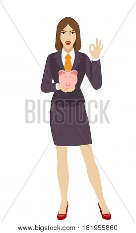 Businesswoman holding a piggy bank and showing a okay hand sign. Full length portrait of businesswoman in a flat style. Vector illustration.