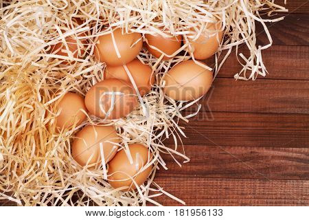 Eggs on wooden background Organic, Range, Shell, Free, Straw, Wicker, Feather