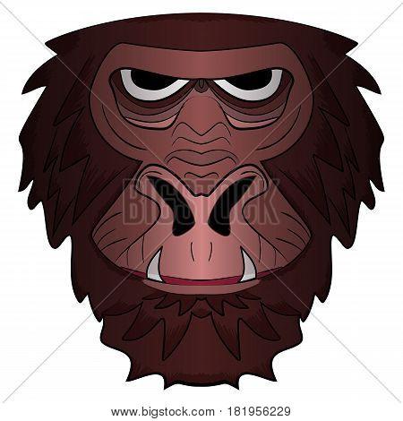 Vector illustration of monkey head cartoon Mascot Illustration isolated on white background