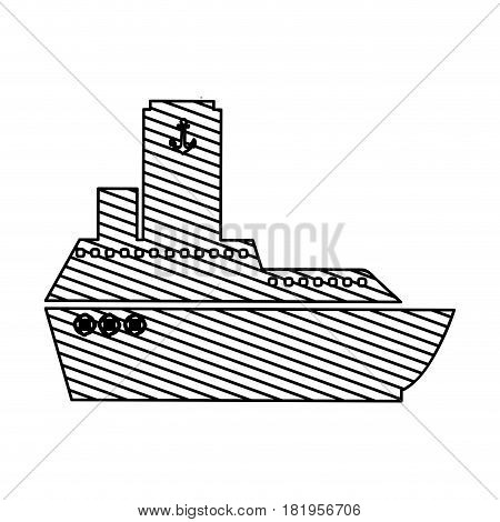monochrome silhouette of vessel to striped vector illustration