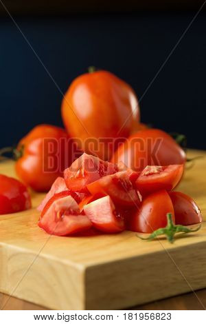 Slices Of Tomatoes. Chopped Tomatoes.fresh Tomatoes Healthy Food Concept. Close Up. Selective Focus