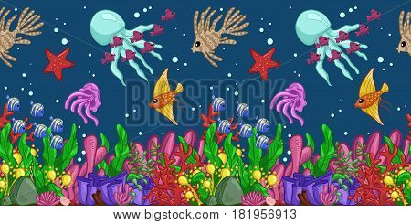 Horizontal seamless pattern with marine life: fish starfish jellyfish seaweed shells bubbles and corals