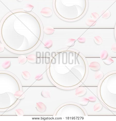 Fashion accessories collection. Makeup face skin cream with rose flower petals. Spring style organic cosmetics background. White and pink soft color romantic vector seamless illustration design.