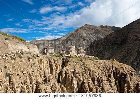 Ancient buddhist stupa and chortens in Upper Dolpo, Eastern Nepal