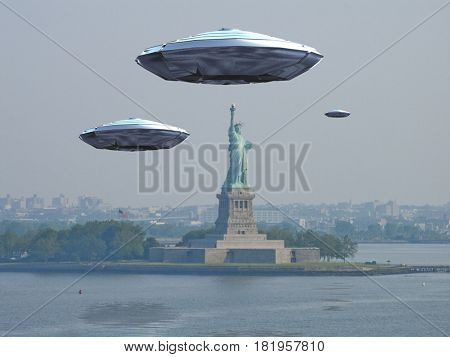 Flying saucers over Liberty statue.