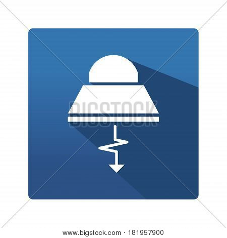 Industrial lamp buttom. Icon in trendy flat style isolated on blue background. Lamp pictogram for your web site design, logo, app. Vector illustration, EPS10