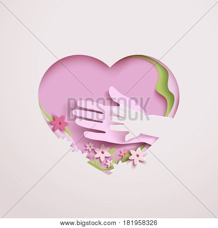 Concept mothers love or mother care with elements hands flowers and shapes in the frame heart. Happy Mothers day greeting card in paper cut style in pink colors