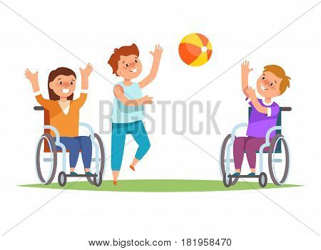 Group happy disabled kids in child wheelchair play together friends with ball . Vector illustration of concept active leisure in cartoon style isolated