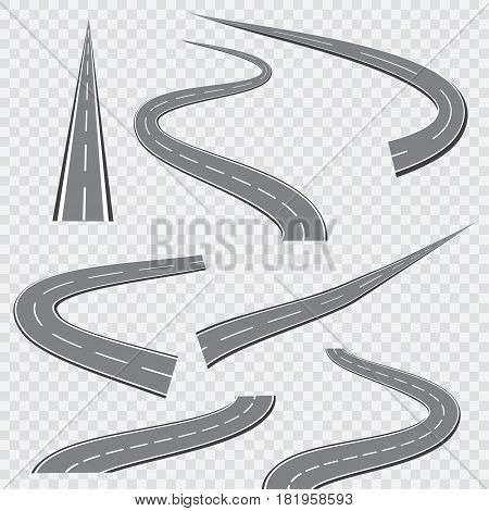 Winding curved road or highway with markings. Vector illustration.
