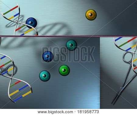DNA chain and eyeballs.