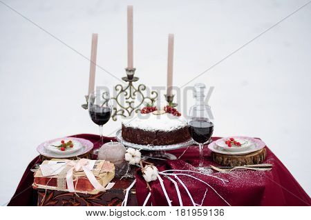 Top View Of A Table With Cake And Decore, Candels.