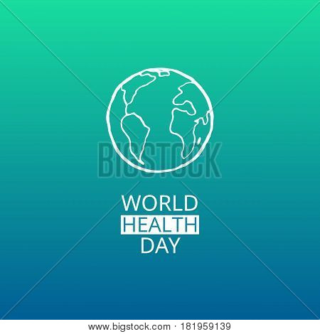 World Health Day. Vector illustration with white globe and green background