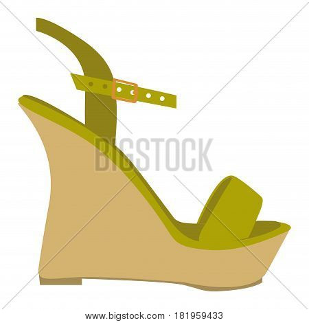 color silhouette of green sandal shoe with platform sole vector illustration