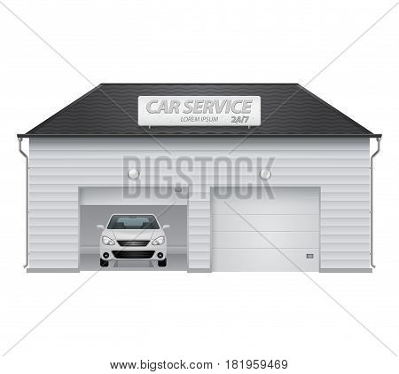 Auto service center with automatic gates and parked white car. Facade of the garage. Signboard on the black roof. Vector illustration on white isolated background. Eps 10