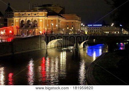 STOCKHOLM, SWEDEN - OCTOBER 17, 2013: Night View Of Illuminated Stockholm Royal Opera