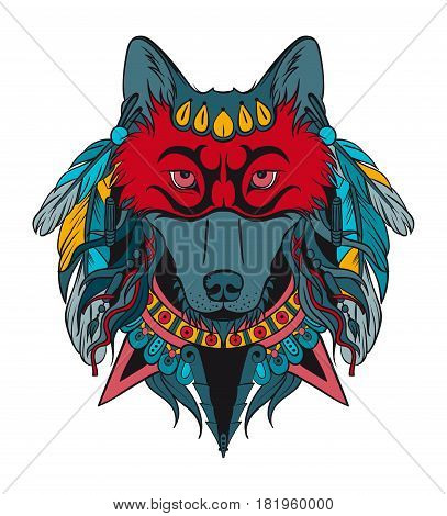 Indian warrior wolf on a white background