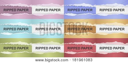 Realistic ripped paper with shadow set. Web banner. Element for advertising and promotional message in different colors. Torn paper, color set.