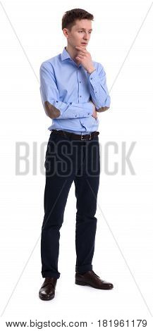 Full Length Portrait Of A Thinking Young Business Man