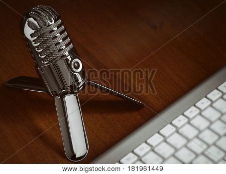 Retro Style Microphone With Modern Keyboard
