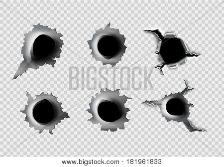 ragged hole in metal from bullets on White transparent background