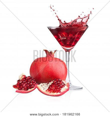 Pomegranate Fruit And Juice. Glass Of  Cocktail With Splash Isolated